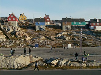 Greenland national football team - Typical playing surfaces in Greenland, such as this one in Ilulissat, do not meet FIFA regulations.