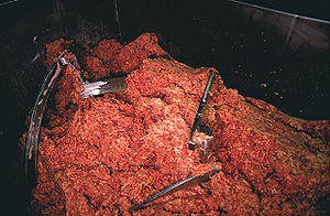 Ground meat - Ground beef in an industrial  grinder