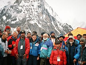 Lino Lacedelli - Group of Chiltan Adventurers Association Balochistan with Lino Lacedelli and Gianni Alemanno at Concordia base camp 2004