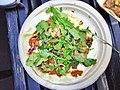 Gulf Shrimp and mushroom quesadilla with burnt tomato chile, Oaxacan cheese, market greens, pistachio.jpg