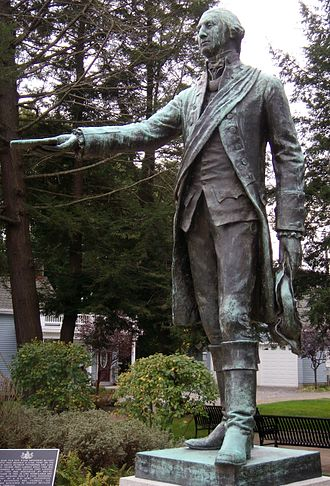Waterford, Pennsylvania - A statue of George Washington wearing the uniform of the Virginia militia.
