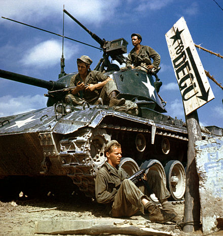 Crew of an M-24 tank along the Nakdong River front, August 1950 HA-SC-98-06983-Crew of M24 along Naktong River front-Korean war-17 Aug 1950.JPEG