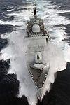 HMS Nottingham braves rough Atlantic seas. MOD 45143881.jpg
