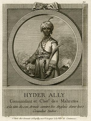 "Anglo-Mysore Wars - Hyder Ali in 1762, incorrectly described as ""Commander in Chief of the Marathas. At the head of his army in the war against the British in India"". (French painting)"