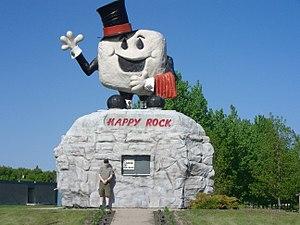 "Gladstone, Manitoba - ""Happy Rock"" tourist information center."