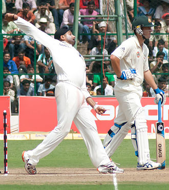 Harbhajan Singh - Harbhajan bowling during India's two-match Test series against Australia in October 2010.