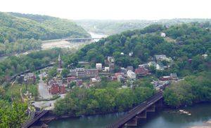 Potomac River - Harpers Ferry, West Virginia at the confluence of the Potomac and Shenandoah rivers