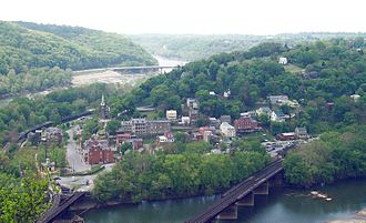 West Virginia - Harpers Ferry (as it appeared in 2005) changed hands a dozen times during the American Civil War and was annexed by West Virginia