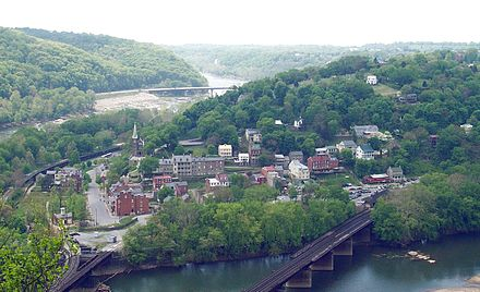 Harpers Ferry (pictured here in 2005) changed hands a dozen times during the American Civil War and was annexed by West Virginia. Harper's Ferry seen from Maryland side of Potomac River.jpg