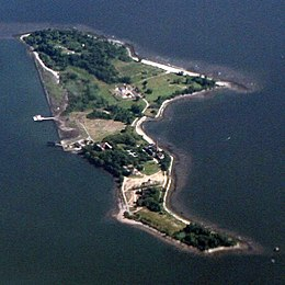 Aerial view of Hart Island