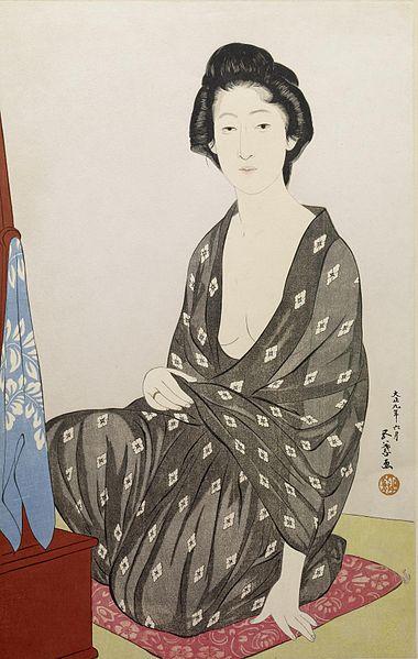 File:Hashiguchi Goyo - Woman in a Summer Kimono - Walters 95878.jpg