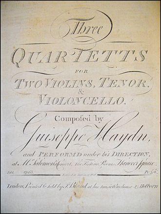 Hanover Square Rooms - Image: Haydn String Quartets Op 65