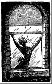 A black-and-white drawing of woman opening a window