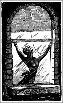 A black-and-white drawing of woman opening a window.