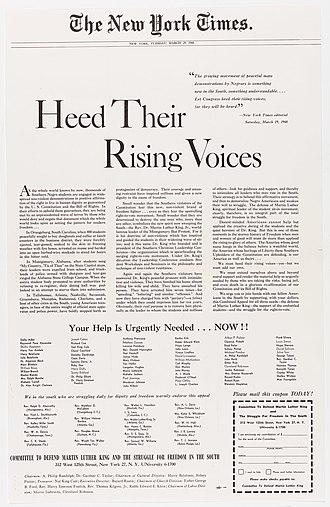 New York Times Co. v. Sullivan - Published in New York Times on March 29, 1960