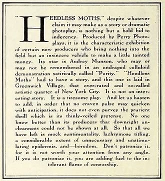 Editorial - Editorial from a 1921 issue of Photoplay recommending that readers not see a film, which featured nude scenes