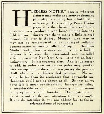 Editorial from a 1921 issue of Photoplay recommending that readers not watch a film, which featured nude scenes Heedless Moths (1921) - Photoplay Editorial.jpg