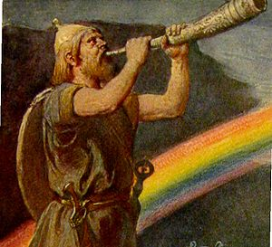 Bifröst - The god Heimdallr stands before the rainbow bridge while blowing a horn (1905) by Emil Doepler.