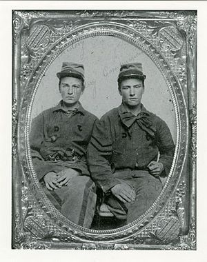 "1st Arkansas Infantry Regiment - Privates Henry Clements and John McKamie Wilson Baird, of the ""Jackson Guards"", a prewar volunteer militia company which became Company G, 1st Arkansas"