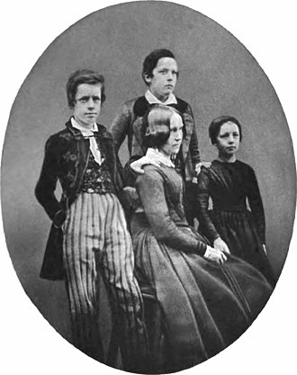 Henry Villard - Henry Villard (left) at about age 13, with mother (center), sister Emma (right) and uncle Robert (above)