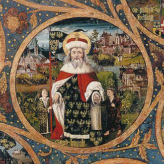 Leopold III, Margrave of Austria - Saint Leopold III with two deceased sons, Babenberger Stammbaum, Klosterneuburg Monastery, 1489–1492