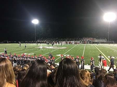 A high school football game during the first quarter High School Football Game.jpg