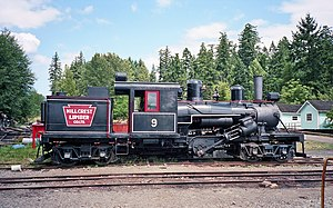 Climax locomotive - Hillcrest Lumber Co. No. 9, preserved at the BC Forest Discovery Centre, Duncan, British Columbia