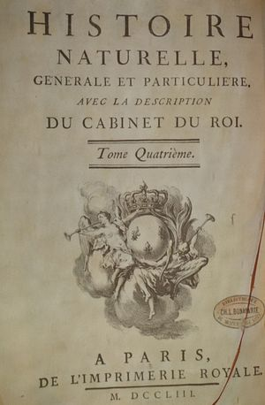 Histoire Naturelle - Title page of volume 4, 1753
