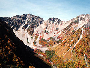 Mount Hotakadake - Hotaka Mountains from the panorama course Byōbu-no-mimi (October 2000)