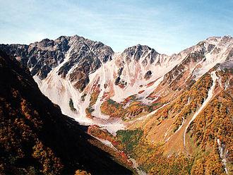 Mount Hotakadake - Hotaka Mountains from the panorama course Byōbu-no-mimi (October 2000)