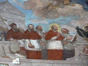Mark Sittich von Hohenems Altemps - Allegory of the Council of Trent in Hohenems. Cardinal Hohenems is the first on the left; his cousin Charles Borromeo is on the right.