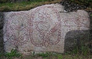 Gamla Turingevägen Inscriptions - The Gamla Turingevägen inscriptions carved were into the rockface near a road from Stockholm.