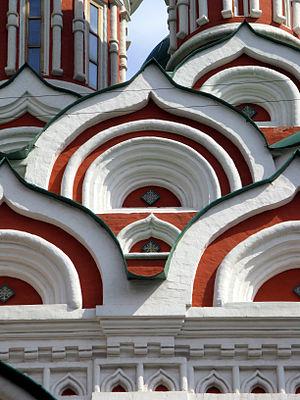 Kokoshnik (architecture) - The kokoshniks of the Holy Trinity Church in Nikitinki, Moscow.