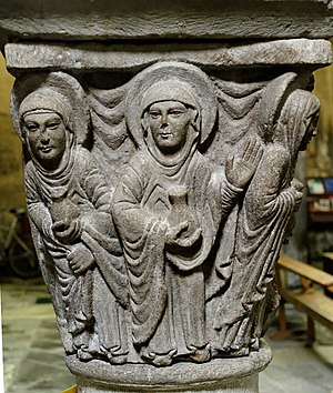 Abbey of Saint-Pierre Mozac - The holy women at the tomb of Christ on a capital preserved from Romanesque Mozac, 12th century