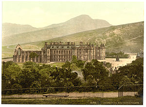 The Ruins of Holyrood Chapel - Holyrood Palace as viewed circa 1900. The abbey is on the left.