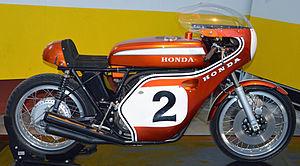Honda CB750 - Dick Mann's Daytona-winning CR750 on display at Le Musée Auto Moto Vélo, a transportation Museum in Châtellerault, France