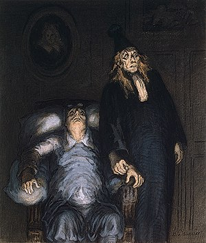 The Imaginary Invalid - The Imaginary Invalid, drawing by Honoré Daumier, c. 1857.