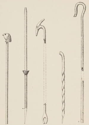 Hor - Drawing by Jacques de Morgan of the scepters and staves of Hor Awibre.
