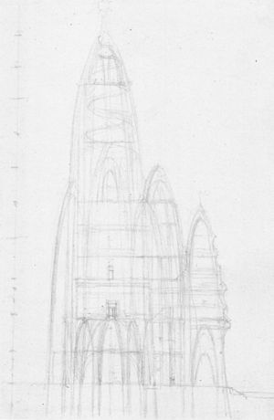 Hotel Attraction - Sketch by Gaudi of Hotel Attraction