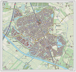 Houten - Dutch Topographic map of Houten (town), March 2014