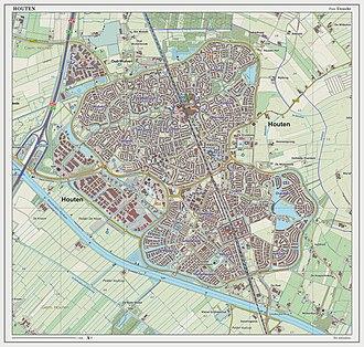 Houten - Dutch Topographic map of Houten (town), March 2014