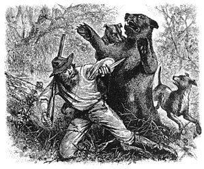 Hugh Glass - Glass being attacked by a bear, from an early newspaper illustration of unknown origin