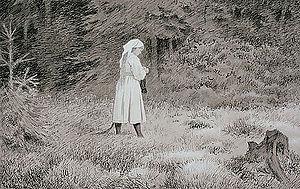 Skogsrå - Huldra (skogsrå), by Theodor Kittelsen
