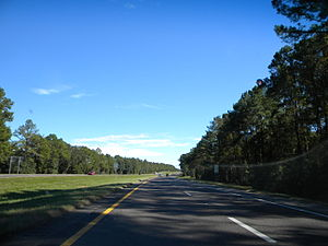 Interstate 10 in Florida - Eastbound view of I-10 near Lake City and I-75