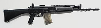 INSAS rifle - Current version of the INSAS AR with black polymer furniture