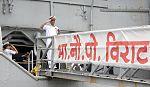INS Viraat leaving Mumbai harbour for one last time under own power (4).jpg