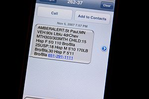 Text messaging - A text message on an iPhone announcing an AMBER Alert