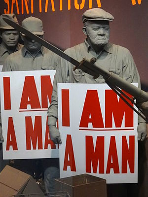 Memphis sanitation strike - Image: I Am a Man Diorama of Memphis Sanitation Workers Strike National Civil Rights Museum Downtown Memphis Tennessee USA