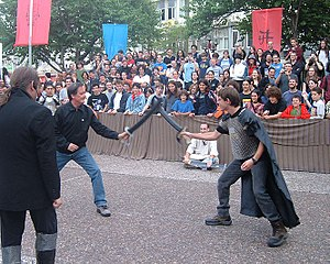 ICon festival - Author Tim Powers fights at the battle ring. ICon 2005