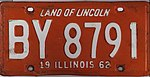 Illinois 1962 license plate - Number BY 8791.jpg